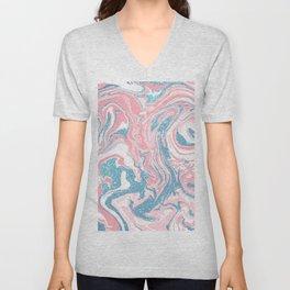 Modern White Pink Blue Glitter Marble Unisex V-Neck