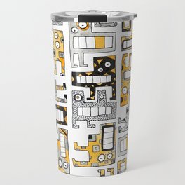 Tetris monsters yellow and grey Travel Mug