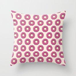 mmmmm Donuts - Pink & Tan Throw Pillow