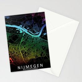Nijmegen, Netherlands, City, Map, Rainbow, Map, Art, Print Stationery Cards