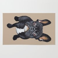 french bulldog Area & Throw Rugs featuring French Bulldog by PaperTigress