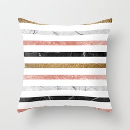 marble and metal stripes Throw Pillow