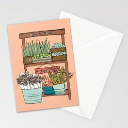 Mei's Farm Stand on Salmon Pink Stationery Cards