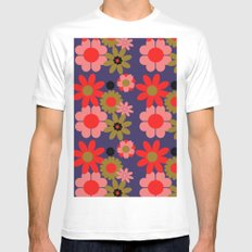 Groovy baby floral White MEDIUM Mens Fitted Tee