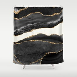 Into the Great Wide Open Black and Gold Agate Shower Curtain
