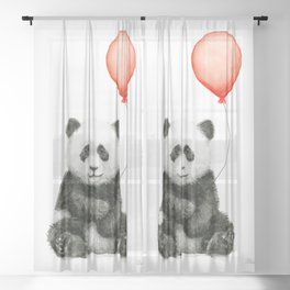 Baby Panda and Red Balloon Sheer Curtain