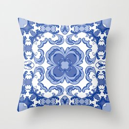 Porcelain Blue Throw Pillow