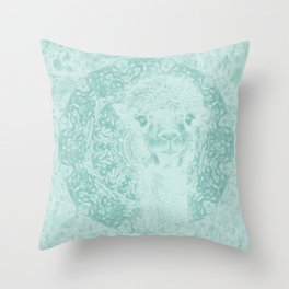 Happy Ghostly alpaca and mandala in Limpet Shell Blue Throw Pillow