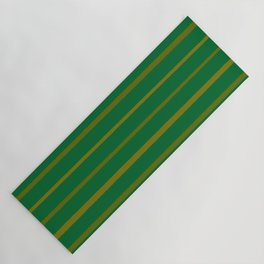 Emerald Green and Honey Gold Thin Stripes Yoga Mat