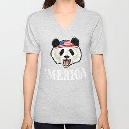 Panda 4th Of July Unisex V-Neck