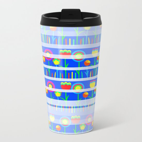 Floral spring party in blue Metal Travel Mug