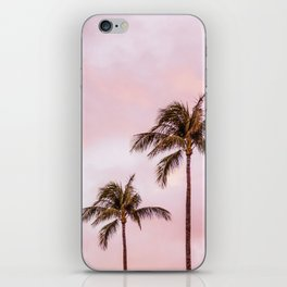 Palm Tree Photography | Landscape | Sunset Unicorn Clouds | Blush Millennial Pink iPhone Skin