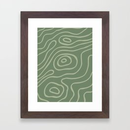 Topographic Map / Grayish Green Framed Art Print