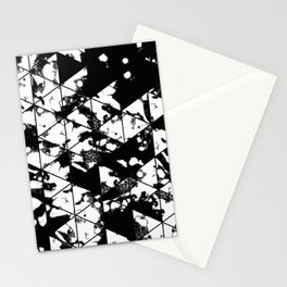 Splatter Triangles - Black and white, abstract, paint splat, triangular pattern Stationery Cards
