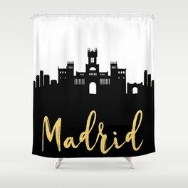 MADRID SPAIN DESIGNER SILHOUETTE SKYLINE ART Shower Curtain