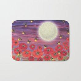 purple sky, fireflies, snails, and poppies Bath Mat