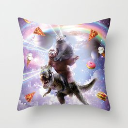 Laser Eyes Space Cat On Sloth Dinosaur - Rainbow Throw Pillow