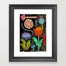 Gardening At Night Framed Art Print