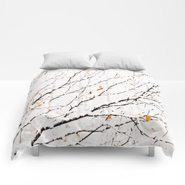 Snowy birch twigs and leaves #society6 #decor #buyart Comforters