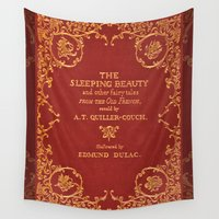 book cover Wall Tapestries featuring Vintage Sleeping Beauty Book Cover, Fairy Tale by ForgottenCotton