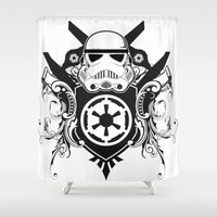 storm trooper Shower Curtains featuring Storm Trooper Coat of Arms by Of Lions And Lambs