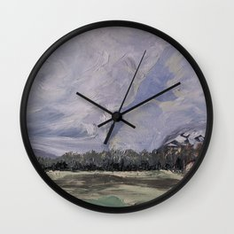 cloudy sky in the mountains Wall Clock