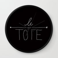 tote bag Wall Clocks featuring Le Tote by Nick Dijsselbloem