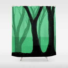 Magical Forest in Green Shower Curtain