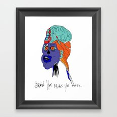 Brain Hat makes your aware. Framed Art Print
