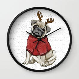 Reindeer Pug Wall Clock