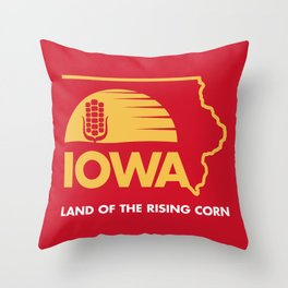 Iowa: Land of the Rising Corn - Red and Gold Edition Throw Pillow