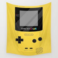 gameboy Wall Tapestries featuring Gameboy Color - Yellow by katy-makes-things