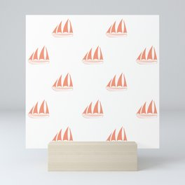 Coral Sailboat Pattern Mini Art Print