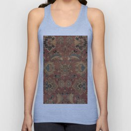 Flowery Boho Rug IV // 17th Century Distressed Colorful Red Navy Blue Burlap Tan Ornate Accent Patte Unisex Tank Top
