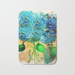 Blue Heaven Hydrangea by Barbara Chichester Bath Mat