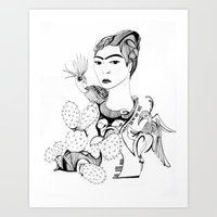 frida kahlo Art Prints featuring Frida Kahlo by eva vasari