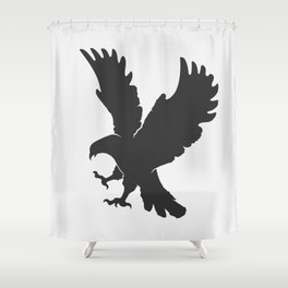 vector silhouette flying eagle on a white background Shower Curtain