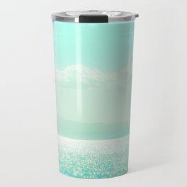 Winter Aqua Sparkling Seashore Travel Mug