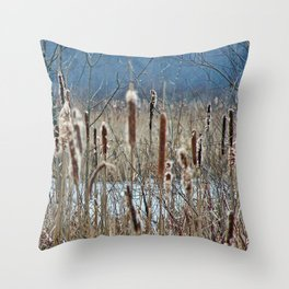 Cattail, Bulrush and Wetlands Throw Pillow