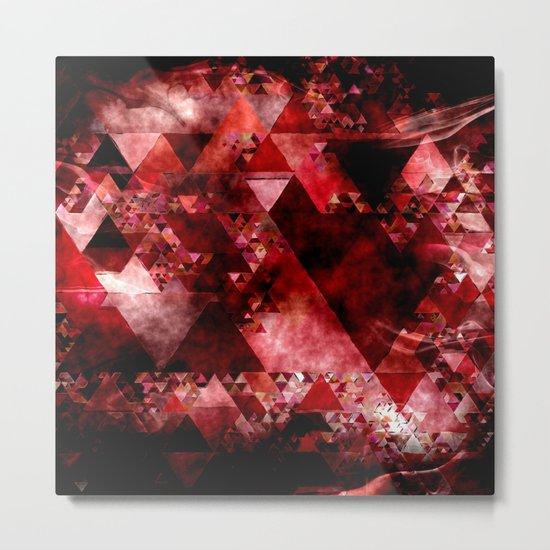 Dark hell- geometrical triangle - modern red backdrop on #Society6 Metal Print