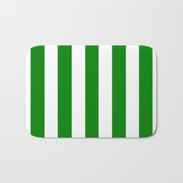 Green (HTML/CSS color) - solid color - white vertical lines pattern Bath Mat