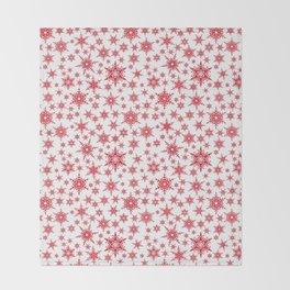 Red snowflakes on white. Throw Blanket