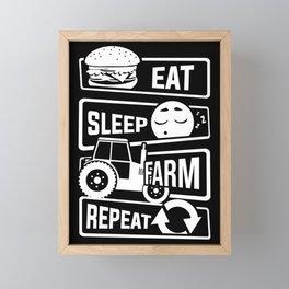 Eat Sleep Farm Repeat - Farmer Farmyard Farm Framed Mini Art Print