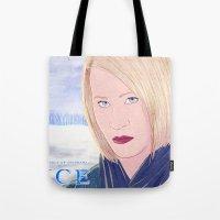 karen hallion Tote Bags featuring ICE Poster (Karen) by CharlieAmber