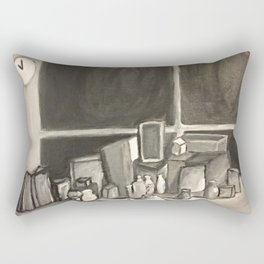 As Time Passes in Black and White Rectangular Pillow