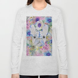 Abstract French bulldog floral watercolor paint Long Sleeve T-shirt