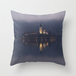 Misty Lake Bled At Night Throw Pillow