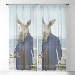 Mr. Rhino's Day at the Beach Sheer Curtain