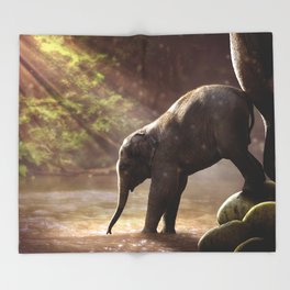 Elephant Young Watering Hole Throw Blanket