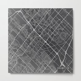 Brampton Map, Canada - Gray Metal Print